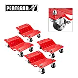 Pentagon Tool | Premium 4-Pack | Car Tire Dolly - Tire Skates | 1,500 lbs Rating | Red
