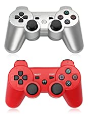 XFUNY Pair of 2 Wireless Bluetooth Game Controllers for PlayStation 3 PS3 Double Shock (1 Silver + 1 Red)