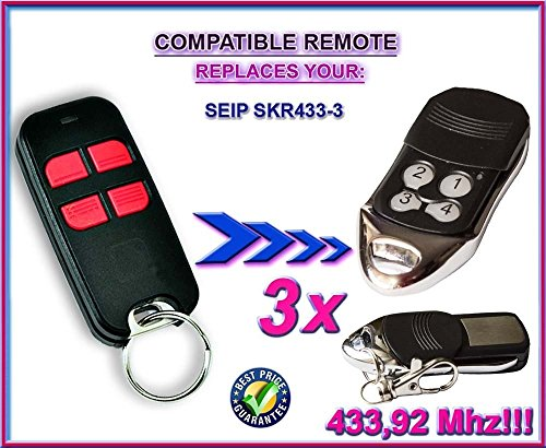 Price comparison product image 3 X SEIP SKR433-3 compatible remote control replacement transmitter, 433.92Mhz rolling code keyfob