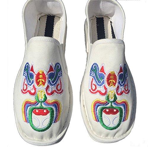 Eagsouni Unisex Chino Old Beijing Bordado Zapatos Verano Sandalias Cómodo Casual Zapatos de Senderismo Blanco2
