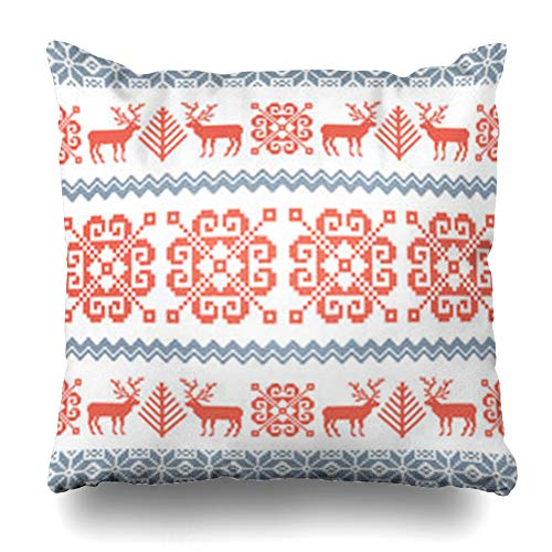 AileenREE Throw Pillow Covers Greeting Red Nordic Knitted Christmas Pattern Reindeer Norwegian Tree Holidays Star Vintage Border Pillowcase Square Size 18 x 18 Inches Home Decor Cushion Cases ()