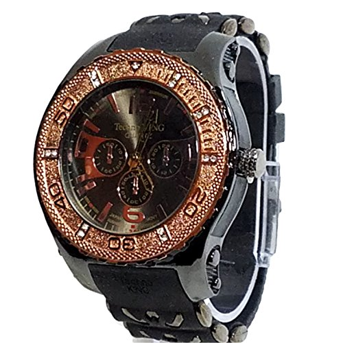 (Techno King Rose Gold Finish 14+ Lab Diamond Watch Gun Metal Bullet Band Urban Hip Hop Bling .50 ct )