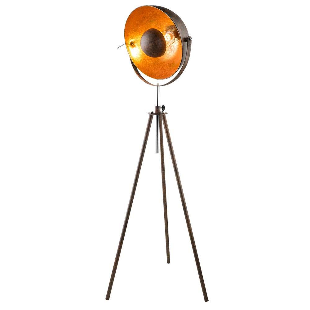 Retro Steh Lampe Wohn Zimmer Schein Werfer Spot Leuchte gold rost Strahler Höhe verstellbar Globo 58307