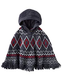 OshKosh Big Girls' Woven Fair Isle Hooded Poncho Sweater (7)