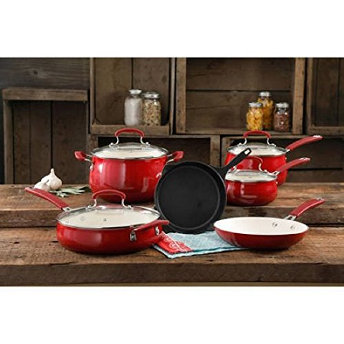 The Pioneer Woman Classic Belly 10-Piece Cookware Set, RED