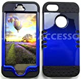 APPLE IPHONE 5S CASE TWO TONE BLACK BLUE BK-A005-ICG HEAVY DUTY HIGH IMPACT HYBRID COVER BLACK SKIN SILICON COVER