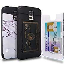 Galaxy S5 Case, TORU [S5 Wallet Case Pattern Marble] Protective Slim Fit Dual Layer Hidden Credit Card Holder ID Slot Card Case with Mirror for Samsung Galaxy S5 / S5 Neo - Marble Stone