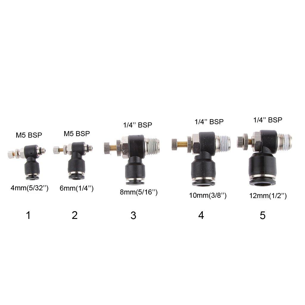 Almencla 5 Unids 6 Mm 1//4 A M5 BSP Control De Flujo V/álvula De Mariposa Conector Neum/ático