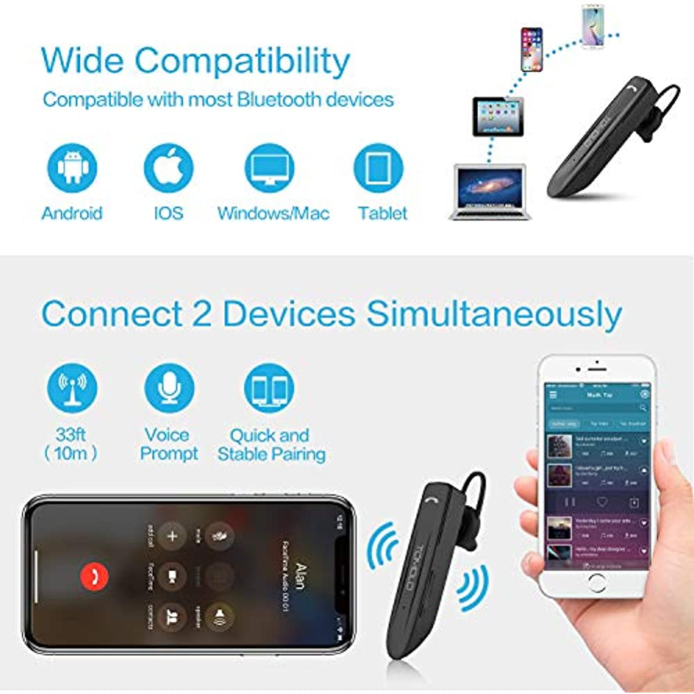 Mpow Em10 Bluetooth Headset 16 Hrs Playtime Dual Noise Cancelling Mic Earbud Wireless Headset For Cell Phone Tablet Pc Ios Android V4 2 Bluetooth Earpiece