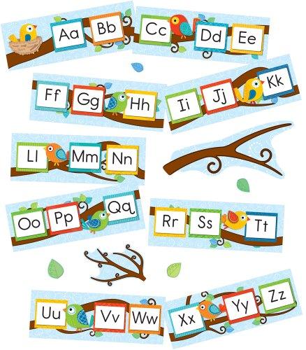- Boho Birds Alphabet Bulletin Board Set