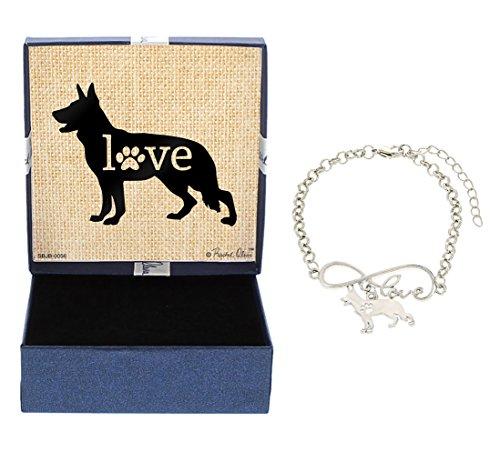 Dog Charm Shepherd German (Love German Shepherd Bracelet Gift Love Charm Dog Breed Silhouette Charm Bracelet Silver-Tone Bracelet Gift German Shepherd Owner Jewelry Box)