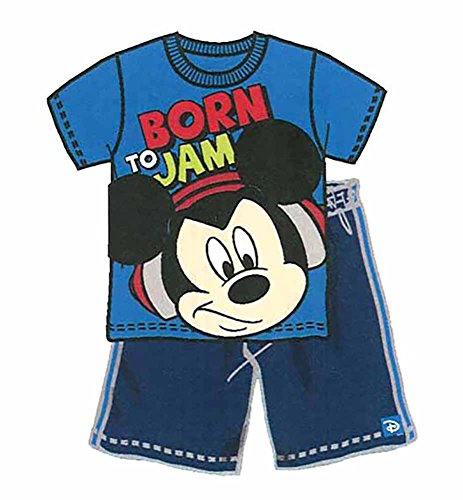 Disney Mickey Mouse ' Born To Jam ' Baby Boys T Shirt and Mesh Short Outfit - Blue