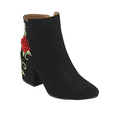 Women's Cold Weather Suede Floral Embroidered Chunky Heeled Bootie With Rhinestone Accents Black