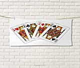 Anniutwo Queen,Sports Ttowel,Queens Poker Set Faces Hearts Spades Gambling Theme Symbols Playing Cards,Absorbent Towel,Black Red Yellow Size: W 12'' x L 35.5''
