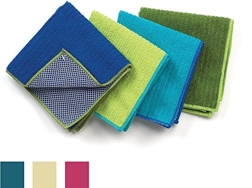 Ritz 100% Polyester Microfiber 12-inch x 12-inch Multi Purpose Kitchen Dish Towel, Gentle Cleaning Wash Cloth with Poly Scour Side, Assorted Blue/Green, 4-Pack