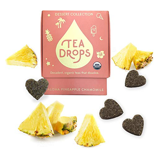 Sweetened Organic Loose Leaf Tea | Caffeine Free Aloha Pineapple Chamomile Tea | 10 Servings of Decadent Dessert Teas Without the Calories | Delicious Hot or Iced | By Tea Drops