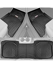 Motor Trend FlexTough Plus Black Rubber Car Floor Mats - All Weather Deep Dish Automotive Floor Mats, Heavy Duty Trim to Fit Design, Odorless Floor Mat Liners for Cars Truck Van SUV