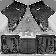 Motor Trend FlexTough Plus Black Rubber Car Floor Mats – All Weather Deep Dish Automotive Floor Mats, Heavy Du