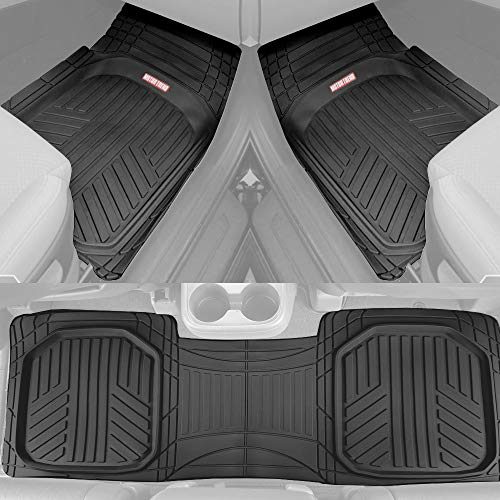 Motor Trend OF-933-BK Black Deep Dish Rubber Floor Mats All-Climate All Weather Performance Plus Heavy Duty Liners Odorless