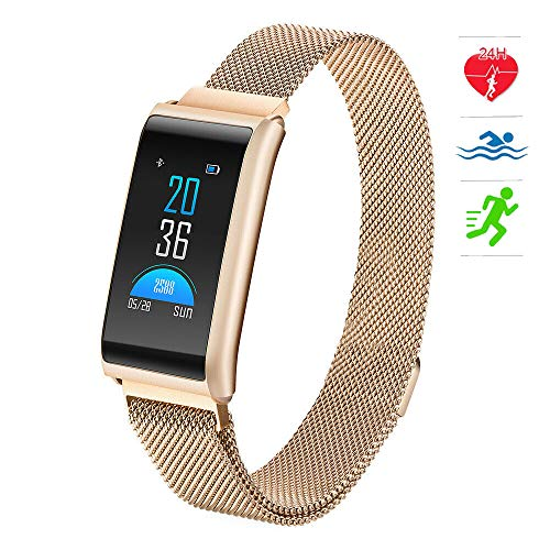 (Fashion Bluetooth Smart Watch HR Fitness Tracker with GPS Motion Trail, Heart Rate/Blood Pressure/Sleep Monitor, Activity Tracker,Gold)