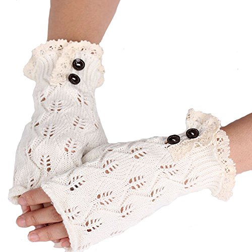 Menglihua Vintage Leaves Hollow Button Warm Fingerless Knit Hand Warmer Mitten Gloves White One - Xl Radar Lock