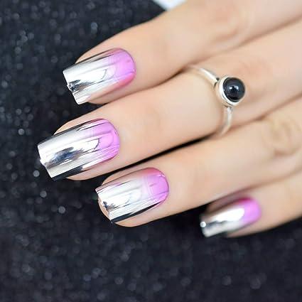 EchiQ - Espejo de uñas postizas de metal rosa, estilo metálico, estilo punk,