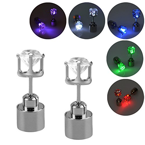 Gracelife 5 Pairs Rhinestone Light Up LED Earring with 5 Dance Party Accessories Shiny Glowing Led Lighting Stud Earrings (Diamond) ()