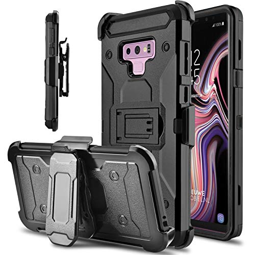 Tevero Hard Galaxy Note 9 Case, Kickstand [Heavy Duty Protection] Swivel Belt Clip Holster Full Body Protective Shockproof Phone Case Cover Compatible with Samsung Galaxy Note 9 / SM-N960U (Black)