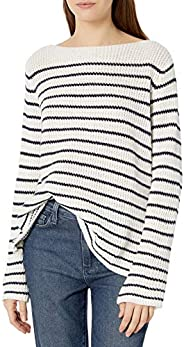 Cable Stitch Women's Boat Neck Striped Swe