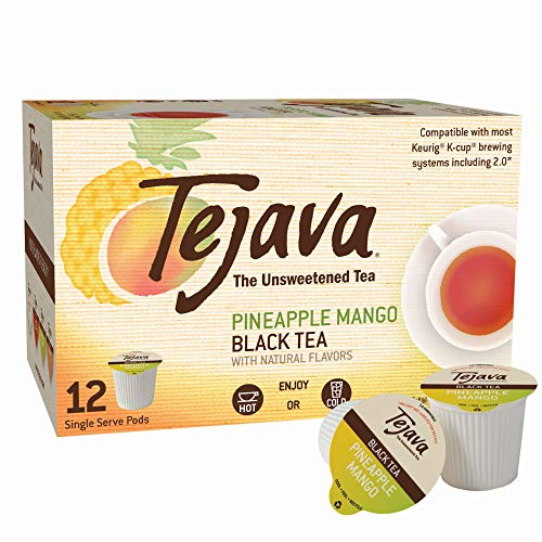Tejava Unsweetened Black Tea with Natural Pineapple-Mango Flavor Pods, Award-Winning Tea, 100% recyclable Single Serve Cups (12 Pack)