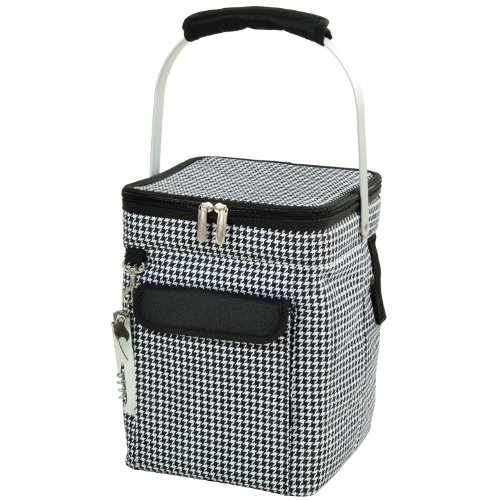- Picnic at Ascot 4 Bottle Insulated Wine Tote- Collapsible Multi Purpose Cooler - Houndstooth