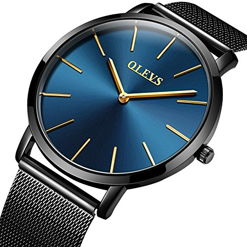 Mens Ultra Slim Wristwatches Black Mesh Stainless Steel Strap Band Watch Date Import Quartz Waterproof 98ft Watches, Minimalist Business Style Brand 2018 New Watch on Sale