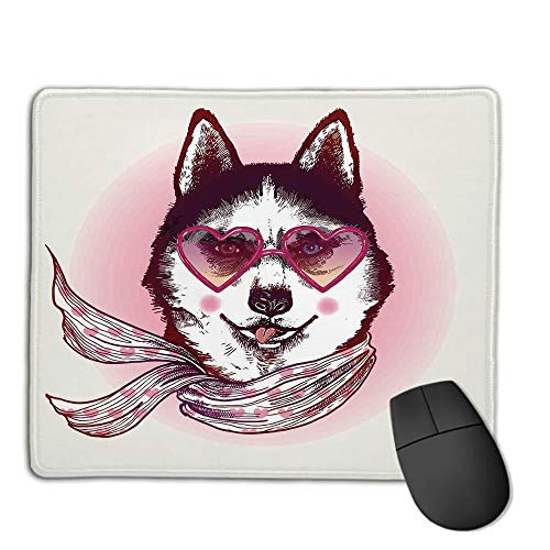 Mouse Pad,Stitched Edges, Waterproof, Ultra Thick 3mm, SilkyCartoon Decor,Hipster Husky Dog with Heart Shaped Sunglasses and Scarf Fashion Animal Art Print,Pink Cream Black,Applies to Games,Home, sc