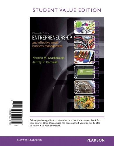 Entrepreneurship and Effective Small Business Management, Student Value Edition (11th Edition)