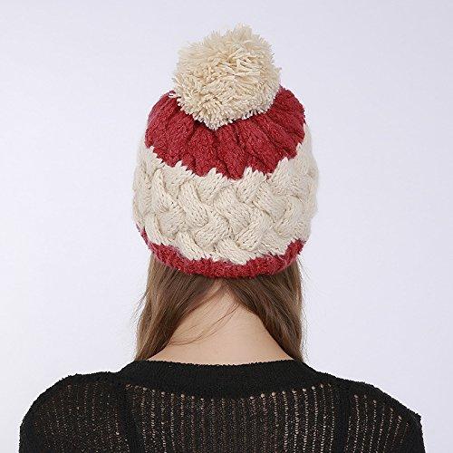 Automne Chapeau Fil Tricot style De Bonnet Beige Laine Femme Pompon À En Hiver 1 Tresser Acvip F8pPR