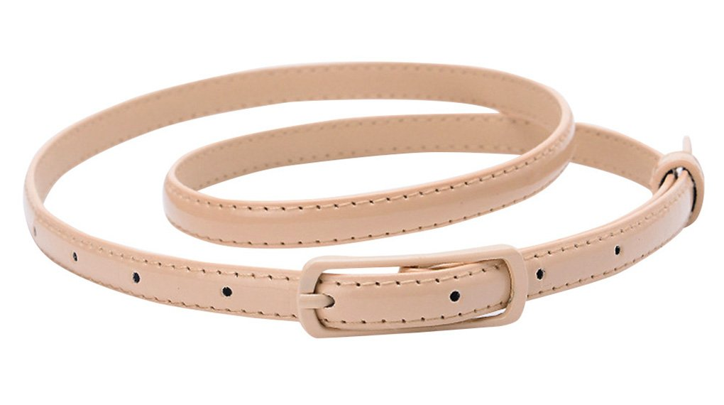 Selighting Women's Solid Color Faux Leather Skinny Belts for Dresses (One Size, Khaki)