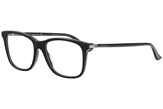 11f3b17e40 Amazon.com  Gucci GG 0018O 001 Black Plastic Square Eyeglasses 52mm ...