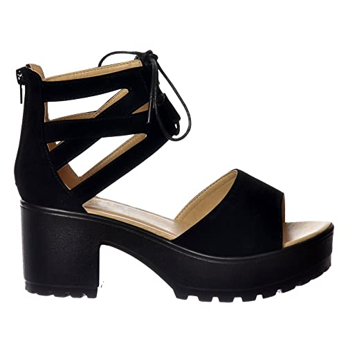 fb55073dcdfbb Shoe Closet Ladies Black Faux Suede Open Toe Lace Up Ankle Strap Block  Chunky Heel Sandals
