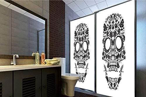 Horrisophie dodo 3D Privacy Window Film No Glue,Sugar Skull Decor,Religious Tradition Latin Celebration Special Day Monochrome Art Decorative,Black and White,47.24