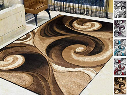 Handcraft Rugs-Swirls Abstract Design Modern Contemporary Hand Carved Area Rug-Chocolate/Beige/Black