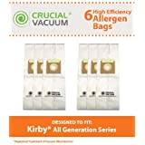 Crucial Vacuum Brand 6-Pack High Efficiency Allergen Filtration CLOTH Vacuum Bags Fits All Kirby Generations, G3, G4, G5, G6, Ultimate G, Sentria, Diamond Edition; Replaces Kirby Part # 204803, 205803