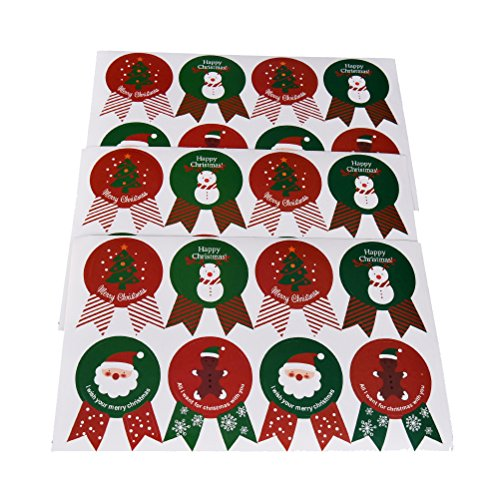 Christmas Envelope Labels (12 Sheets/96 Pieces Christmas Sealing Stickers Santa Claus Snowman Reindeer Christmas Tree Paper Labels Envelope Stickers)