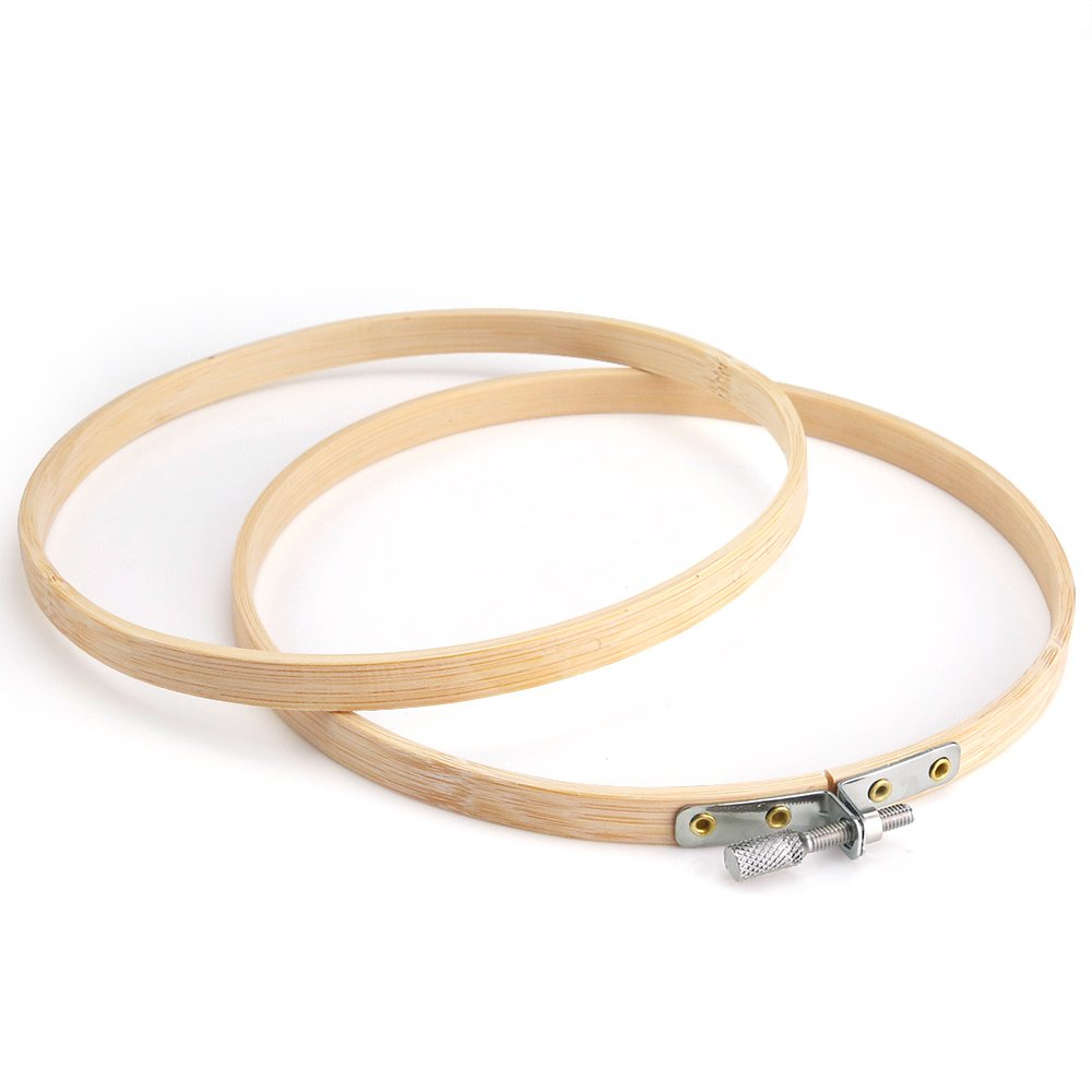 Pllieay/12 Pieces 6 Inch Round Embroidery Hoops Bamboo Circle Cross Stitch Hoop Rings for DIY Embroidery Crafts