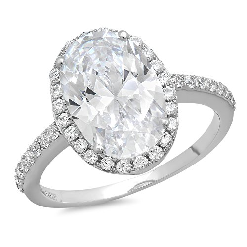 Clara Pucci 3.48ct Oval Cut Simulated Diamond CZ Halo Solitaire Wedding Engagement Ring Bridal Band 14k White Gold, Size 9
