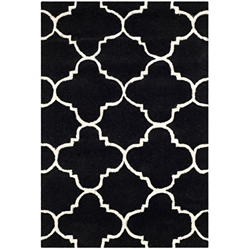 Safavieh Chatham Collection CHT717K Handmade Black and Ivory Premium Wool Area Rug (2' x 3')