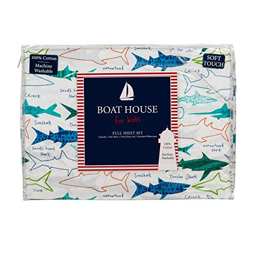 Boat House Kids Bedding 4 Piece 100% Cotton Full Sheet Set Colorful Sharks and Names Different Types of - Bedding House