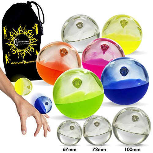 Play SIL-X Implosion Silicone Stage Balls - for Contact Juggling, Body Rolling Manipulation and Includes Flames N Games Bag! Available in 3 Sizes!Set is for 1 SIL-X Ball (Yellow, 67mm)