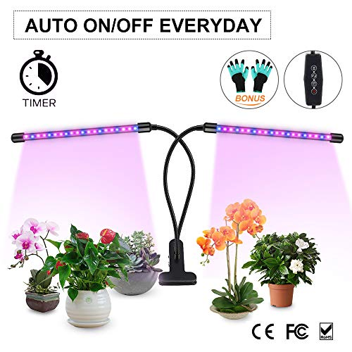 Grow Light,20W Auto ON/Off Grow Lamp Dual Head 40 LEDs Timing for Indoor Plants 3/6/12H Timer 6 Dimmable Levels (Dual Head LEDs)