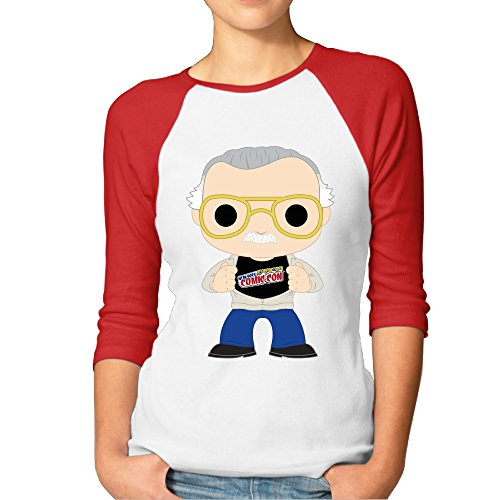 CUPP Women's Stan Lee LOGO Women Raglan Sleeve Baseball Tshirts Red ()