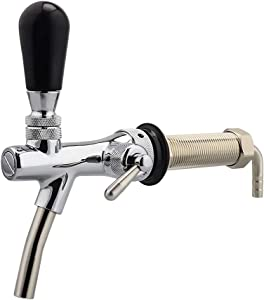 """FERRODAY 4"""" inch Long Shank Adjustable Faucet Stainless Steel Core Draft Beer Faucet 5-layer Electroplated No-Rust Beer Faucet for Kegerator Tower Wall for Homebrew 5/16 Barbed Fitting End"""
